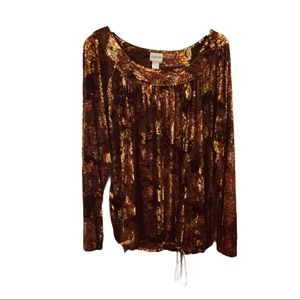 Chico's brown floral velvel blouse